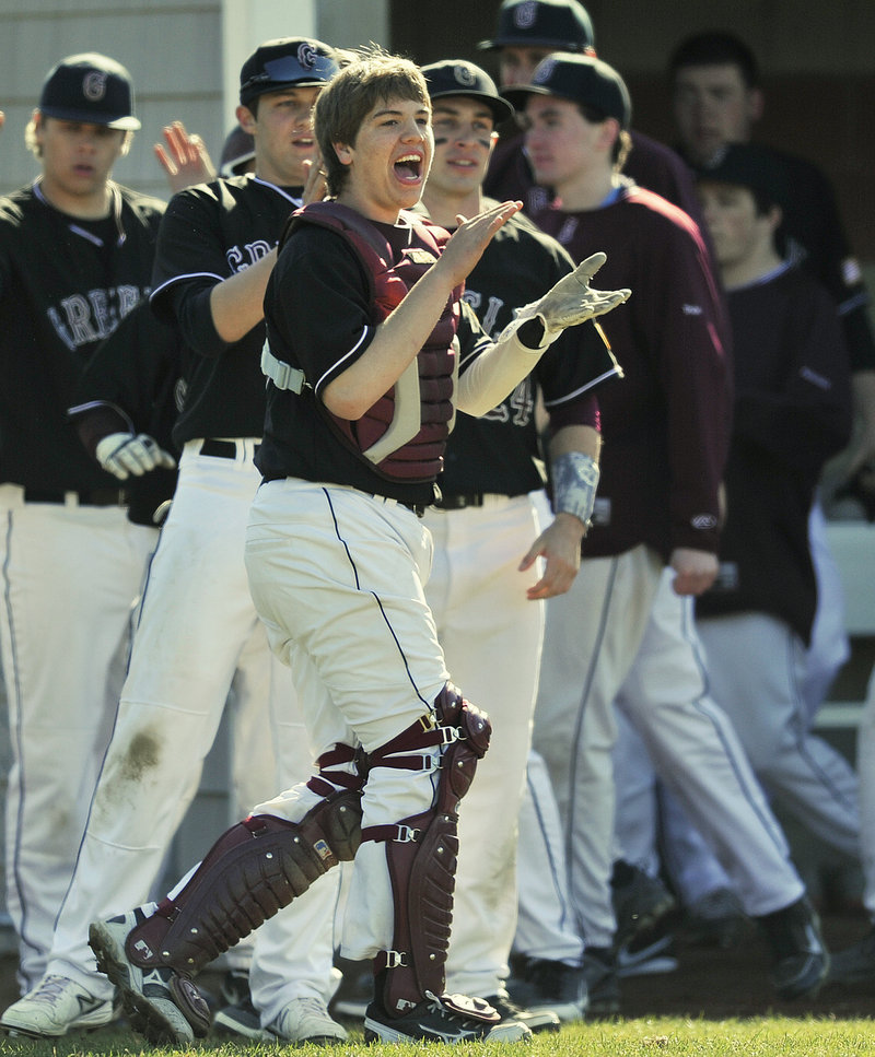 Greely catcher Matt Ames leads the cheers Monday as the Rangers open their baseball season with a 10-0 win over Fryeburg Academy at Cumberland.