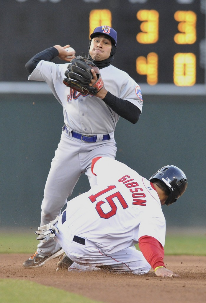 Portland's Derrick Gibson is forced out at second by Binghamton's Josh Rodriguez, but he did manage to prevent a double play in an 8-2 win.