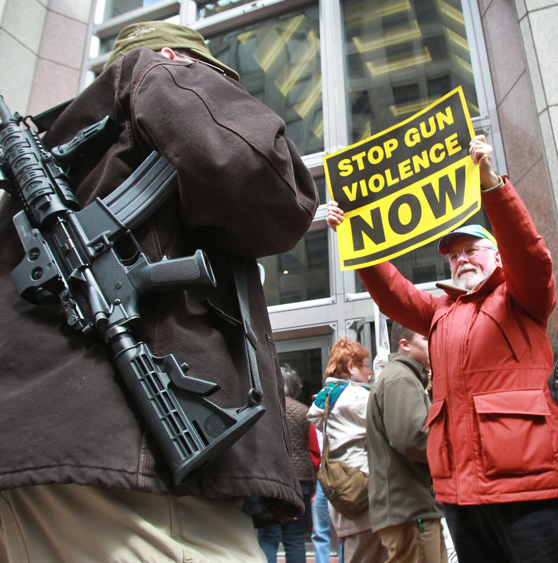 Gun-control advocates and gun-rights backers face off Saturday at a gun-control rally outside the Indianapolis office of U.S. Sen. Dan Coats, R-Ind., who voted against gun-control measures last week. Readers deplore the Senate's rejection of proposals that polls show had broad-based support.