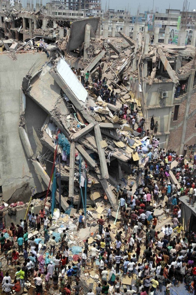 An eight-story garment factory collapsed in Savar, Bangladesh, on Wednesday, killing at least 87 and leaving many more trapped in the rubble.