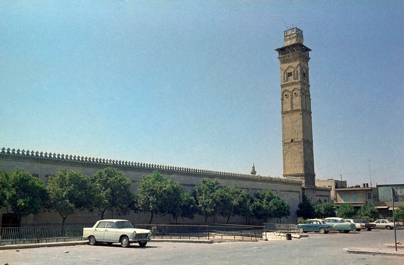 The minaret, shown in a file photo, of the famed Umayyad Mosque, the centerpiece of the walled Old City in Aleppo, Syria, collapsed during fighting between rebels and government troops on Wednesday.