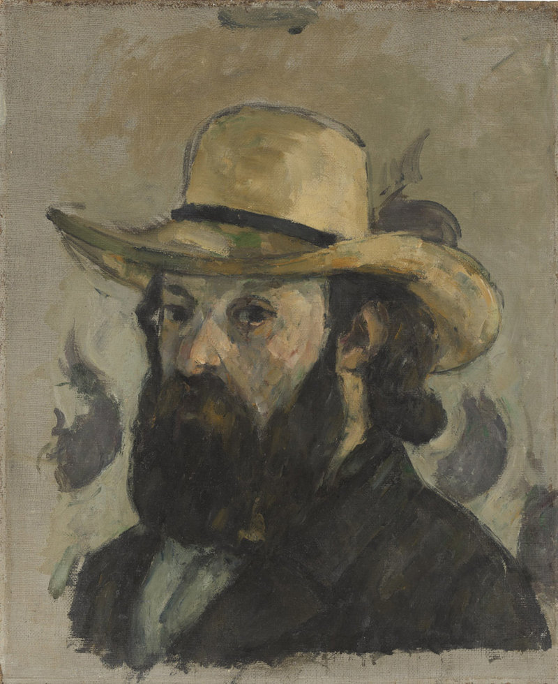 """Self-Portrait in a Straw Hat,"" oil on canvas by Paul Cezanne, 1875-76"