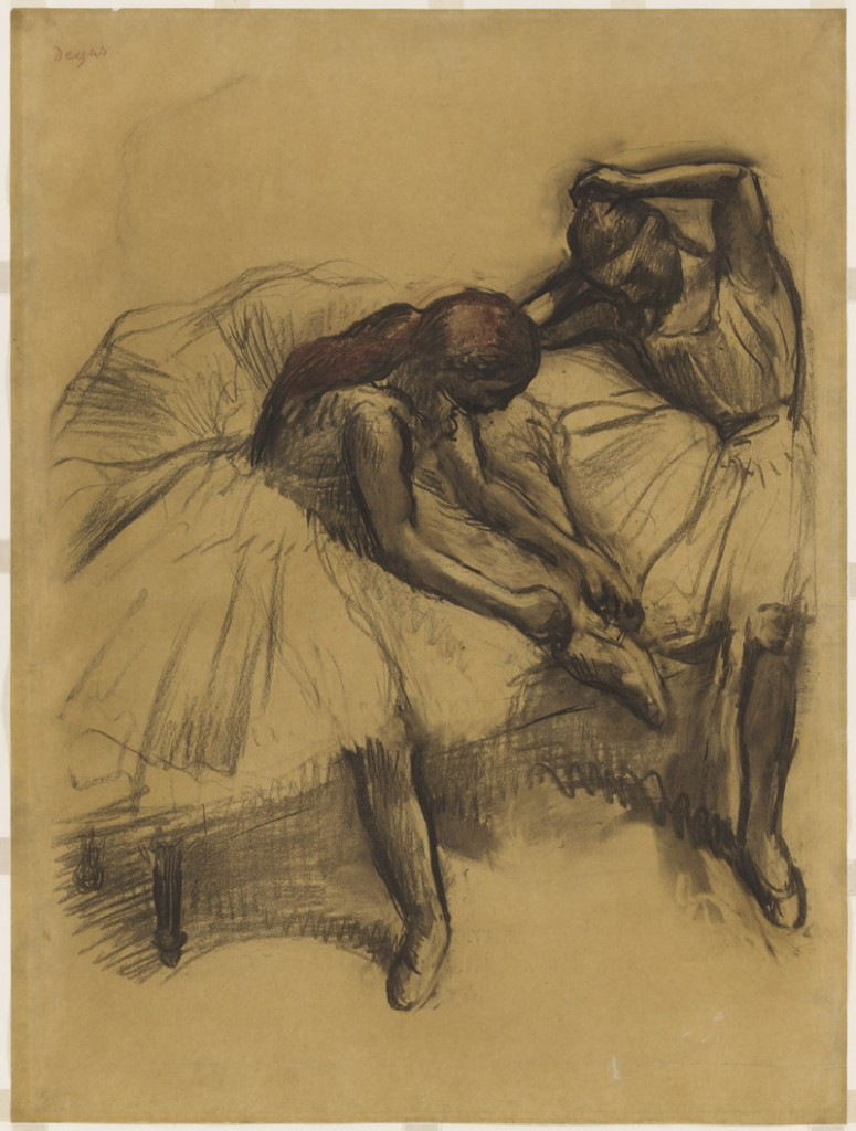 """Two Dancers,"" charcoal and pastel on tracing paper by Edgar Degas, 1905."