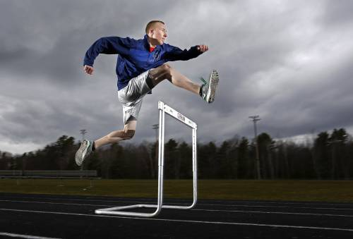 Julian Nijkamp of Gorham pulled off a stunning victory in the indoor state meet hurdles, and hopes to find similar success outdoors.