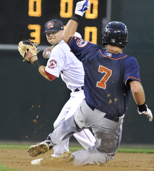 John Patriquin /Staff Photographer; Tuesday, 08/30/10. Portland's #7 Ryan Khoury makes the double play as Mets #7 Sean Ratliff slides into second late as the Portland Sea Dogs host the Binghamton Mets at Hadlock Field in Portland. Baseball