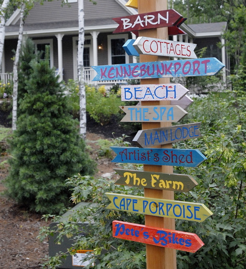Signs point the way to the amenities at Hidden Pond in Kennebunkport.