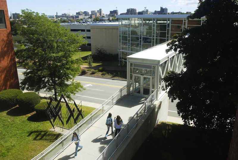 This September 2010 file photo shows the University of Southern Maine's Portland campus. The University of Maine System's Board of Trustees approved a budget Monday that will freeze tuition and cut 78 net jobs.