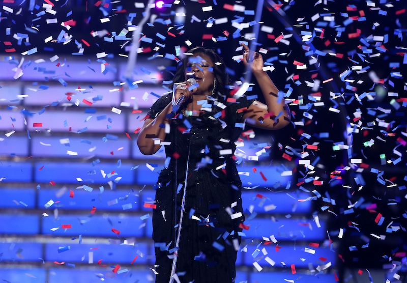 Candice Glover performs on stage after she was announced the winner at the