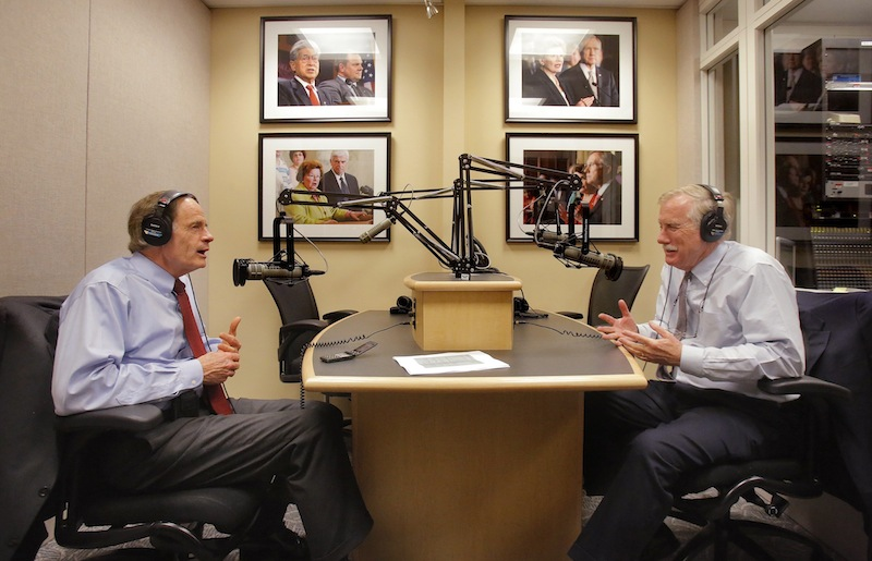 In this April 11, 2013 file photo, Sen. Angus King talks with Sen. Tom Carper of Delaware during a weekly radio program that King does for WGAN radio. WGAN has been ranked as one of the top 20 news and news talk radio stations in the country.
