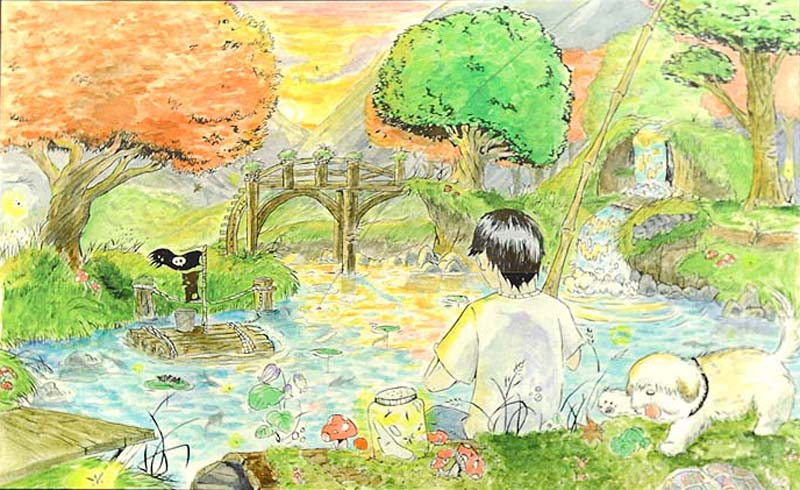 Joey Han's doodle has the Google name subtlely spelled out by trees and a footbridge.