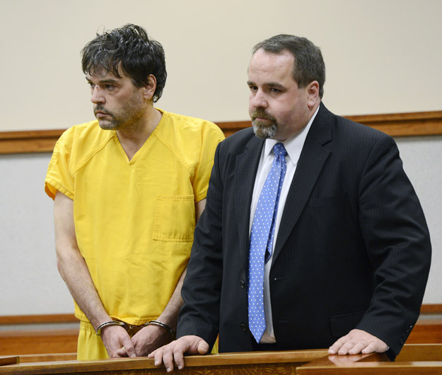 Andrew Leighton appears in Cumberland County Unified Court along with his attorney Robert LeBrasseur on Monday.
