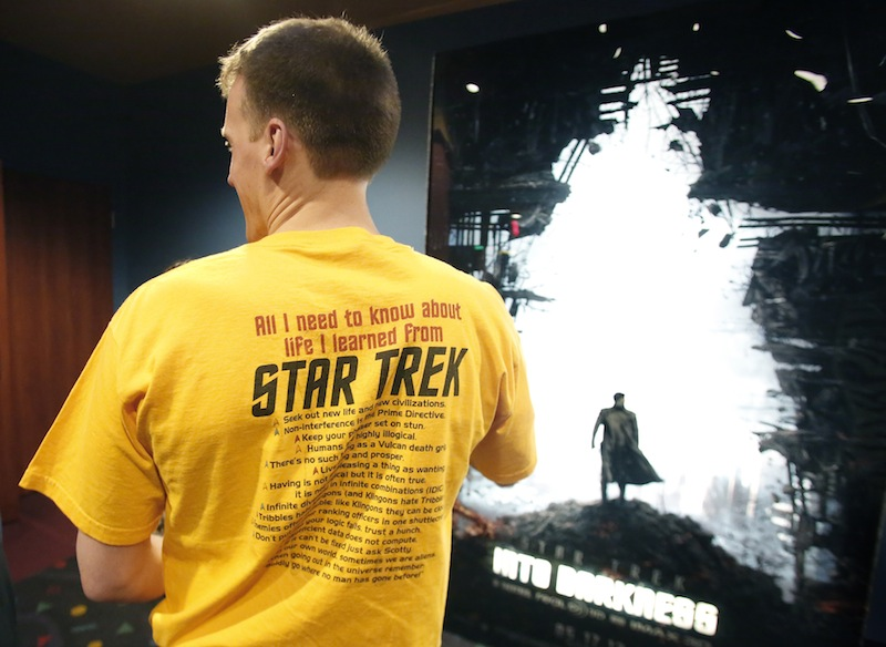Aaron Fox of Old Orchard Beach enters the theatre to watch Star Trek Into the Darkness at the Cinemagic and IMAX in Saco on May 15, 2013. Fox is a lifetime fan of all the Star Trek series and movies.
