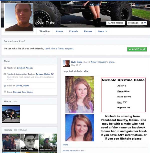 Kyle Dube's Facebook page.