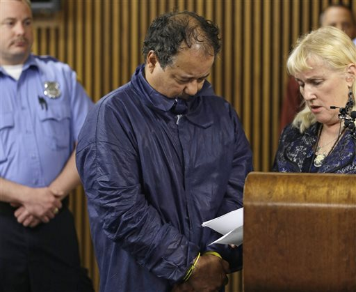 Ariel Castro appears in Cleveland Municipal Court alongside defense attorney Kathleen DeMetz, right, on Thursday. Castro was charged with four counts of kidnapping and three counts of rape.