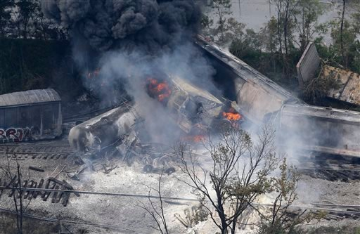 A fire burns at the site of a CSX freight train derailment on Tuesday in Rosedale, Md., where fire officials say the train crashed into a trash truck, causing an explosion that rattled homes at least a half-mile away and collapsed nearby buildings, setting them on fire.