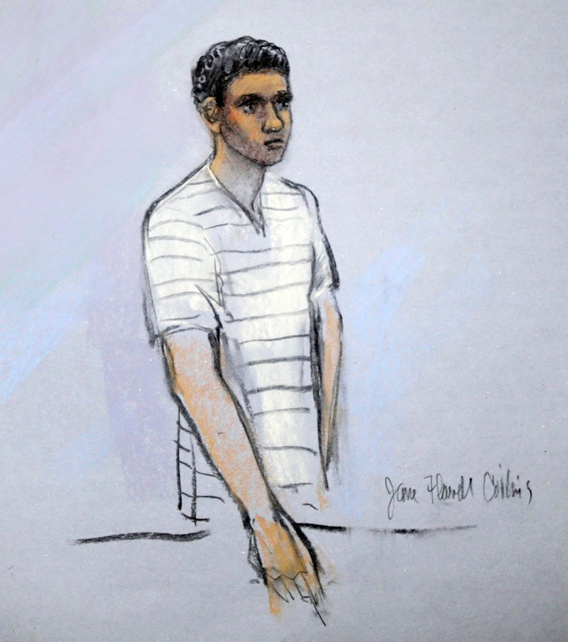 This courtroom sketch shows signed by artist Jane Flavell Collins defendant Robel Phillipos appearing in front of Federal Magistrate Marianne Bowler at the Moakley Federal Courthouse in Boston, Mass., Wednesday, May 1, 2013. The Phillipos, and two other college friends of Boston Marathon bombing suspect Dzhokhar Tsarnaev, were arrested and charged with removing a backpack containing hollowed-out fireworks from Tsarnaev's dorm room. (AP Photo/Jane Flavell Collins)