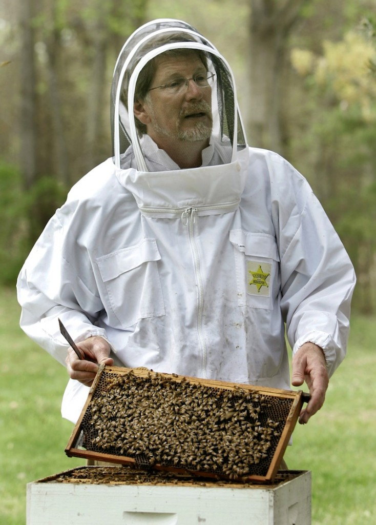 In this April 25, 2007 file photo, Jeffery Pettis, a top bee scientist at the Agriculture Department's Bee Research Laboratory, talks about his work with honeybees, in Beltsville, Md. A new federal report blames a combination of problems for a mysterious and dramatic disappearance of U.S. honeybees since 2006. The factors cited include a parasitic mite, multiple viruses, bacteria, poor nutrition and pesticides. Experts say having so many causes makes it harder to do something about what's called colony collapse disorder. The disorder has caused as much as one-third of the nation's bees to just disappear over the winter each year since 2006. The report was issued Thursday by the Agriculture Department and the Environmental Protection Agency. (AP Photo/Haraz N. Ghanbari, File)