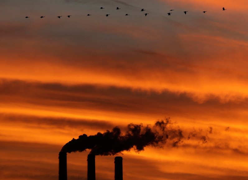 Geese fly past the smokestacks at the Jeffrey Energy Center coal power plant as the suns sets near Emmett, Kan. Worldwide levels of the chief greenhouse gas that causes global warming have hit a milestone, federal scientists said Friday.