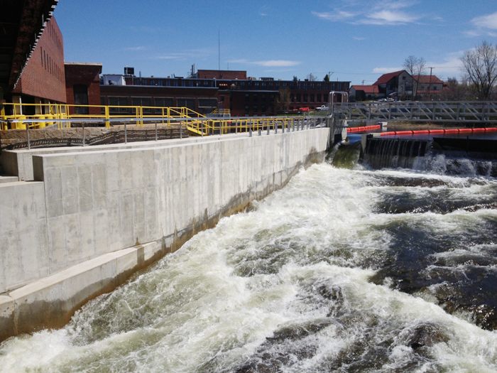 The fish ladder is a concrete chute (shown at left) with baffles that create an artificial rapid that alewives and other fish can swim up.
