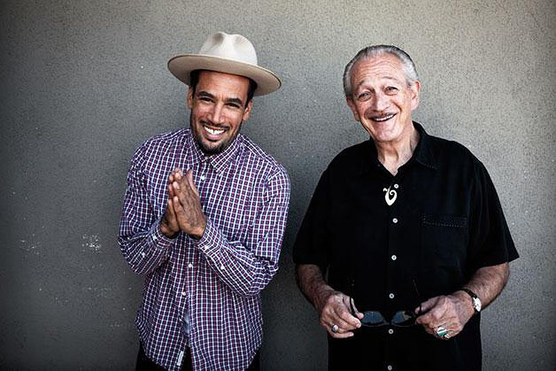 Singer-songwriter Ben Harper, left, and harmonica virtuoso Charlie Musselwhite perform together at Boston's Orpheum Theatre on Saturday.