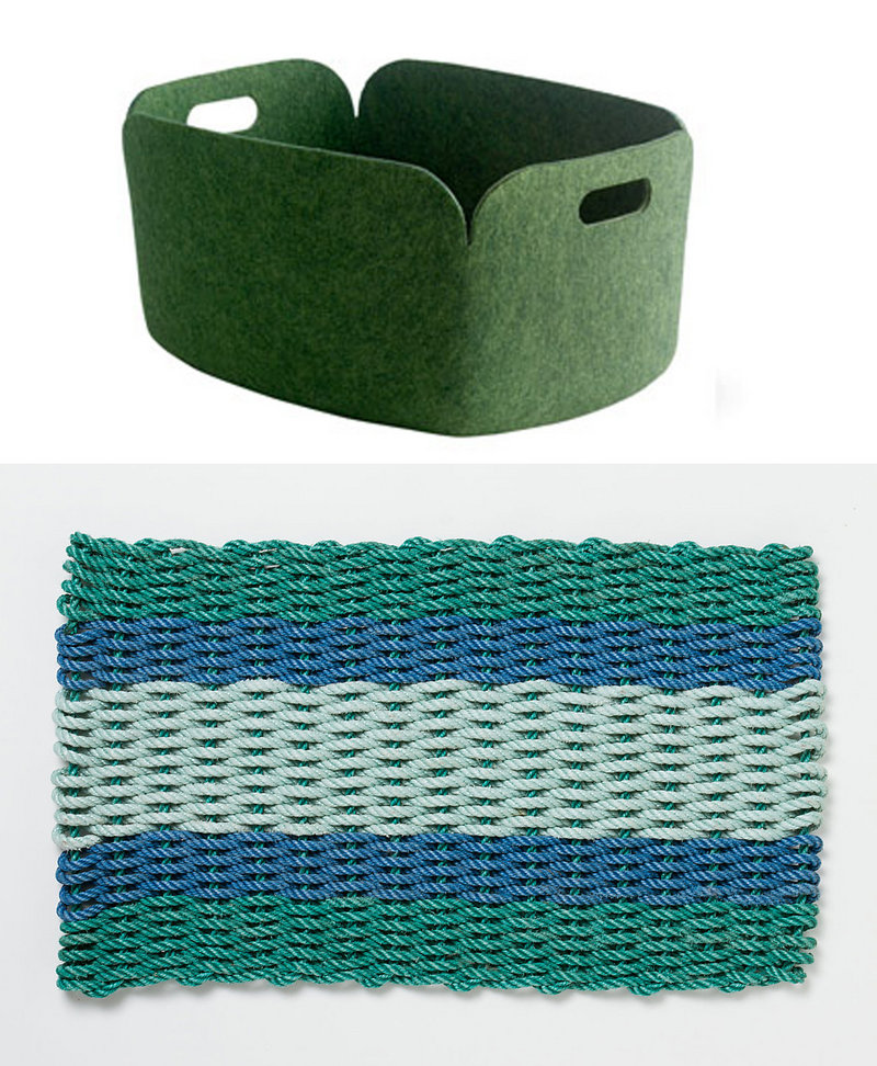 The soft but sturdy Restore Basket by Finnish designer Mika Tolvanen, top photo, is made from plastic recycled from beverage bottles. A mat ($68) from Terrain, bottom photo, is made from rope once used by Maine lobstermen.