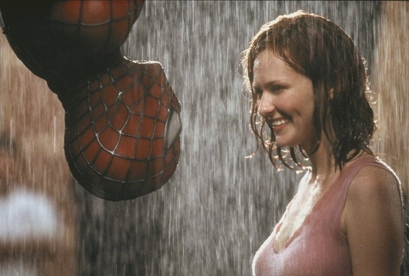 "Tobey Maguire and Kirsten Dunst in ""Spider-Man"" (2002), a superhero story told well on screen."