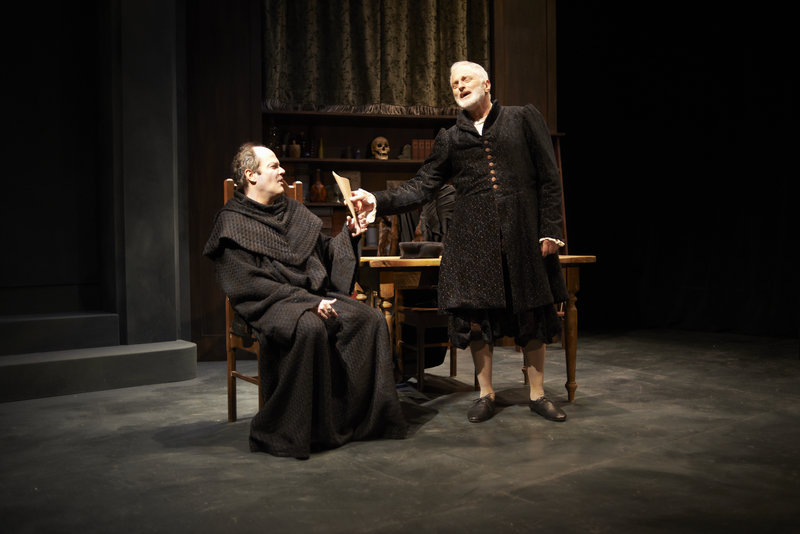 "Hall Hunsinger, left, as Martin Luther and Michael Hammond as John Faustus in the David Davalos comedy ""Wittenberg,"" about the young Hamlet in college, continuing through May 19 at Portland Stage Co. Rob McFadyen plays Hamlet."