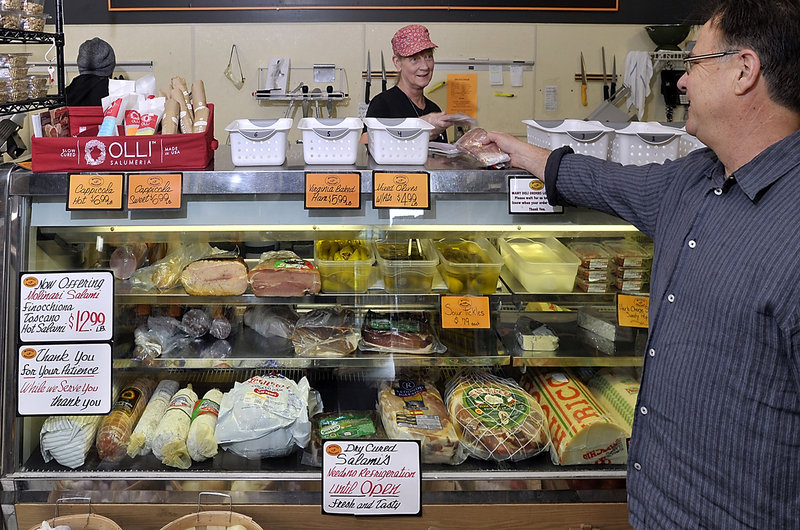 Italian cured meat products are on display at Micucci Grocery in Portland. The selection may grow as the U.S. Department of Agriculture relaxes an importation ban.