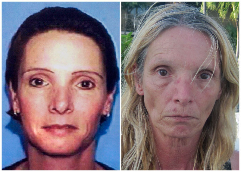 This combination of file photos shows, left, a driver's license photo of Brenda Heist in 2002, and, right, a photo of Heist taken Friday.