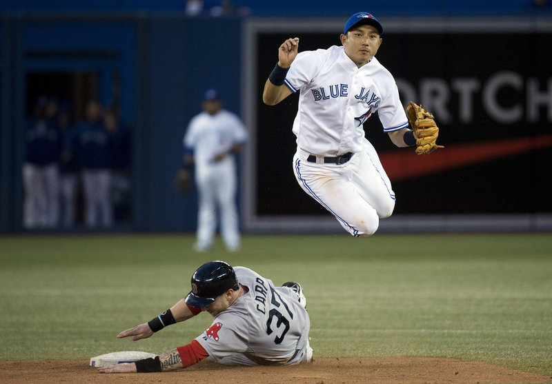 Munenori Kawasaki of the Toronto Blue Jays leaps over Mark Carp of the Boston Red Sox and throws to first to complete a double play Thursday night. The Red Sox won, 3-1.