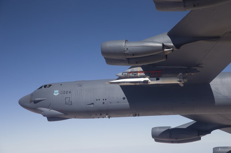 The X-51A WaveRider, carried under the wing of a B-52H Stratofortress bomber, prepares to launch for its fourth and final flight over the Pacific Ocean on Wednesday.