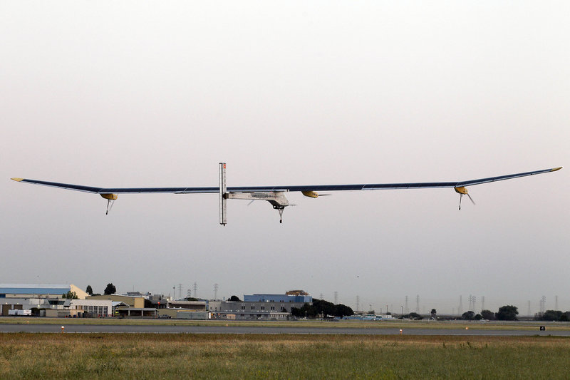 The Solar Impulse takes off on a multicity trip across the United States from its start in Mountain View, Calif., on Friday.