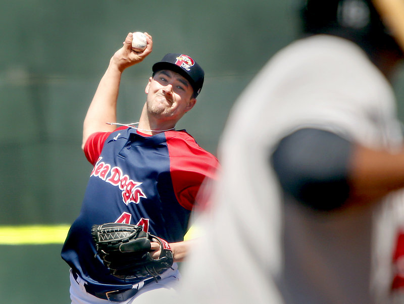 Portland's Brandon Workman delivers a pitch against the New Britain Rock Cats on Sunday at Hadlock Field. Workman allowed six hits, two walks and four runs in 5 2⁄3 innings, with eight strikeouts. Despite the loss, the Sea Dogs still own the EL's best record, 18-10.