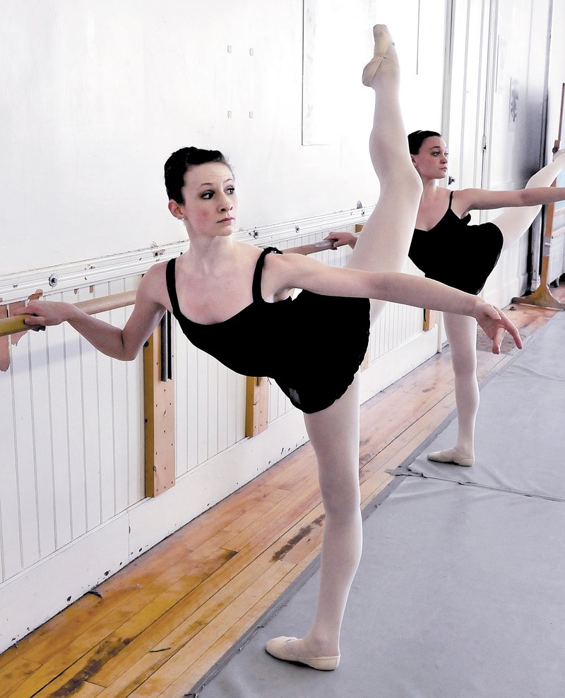 Gabrielle Perkins rehearses at the Bossov Ballet Theatre at Maine Central Institute in Pittsfield. She is one of 15 foreign dancers accepted at the Vaganova Ballet Academy in Russia.