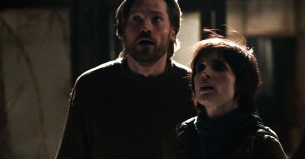 "Nikolaj Coster-Waldeau and Jessica Chastain in ""Mama."""