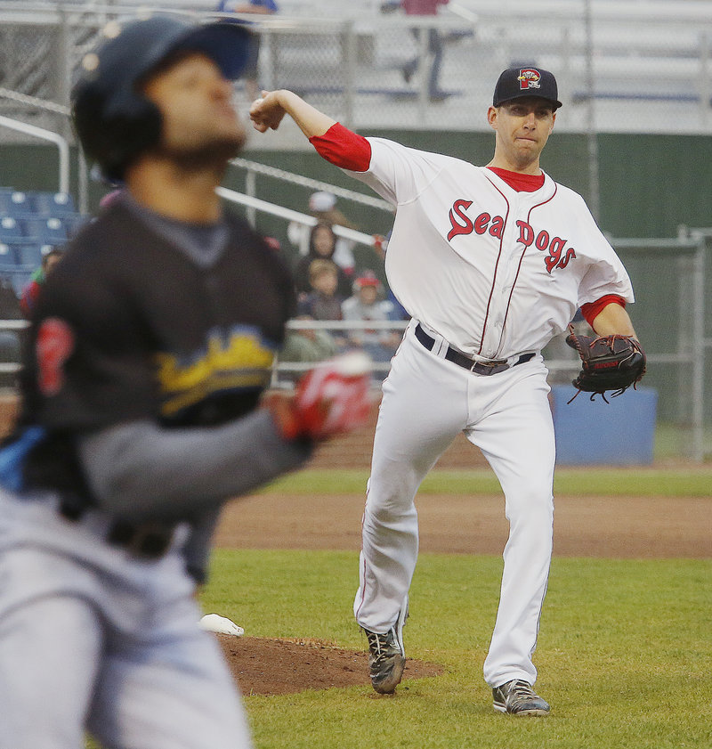 Portland pitcher Matt Barnes throws out Reading's Tyson Gillies after fielding a grounder to the mound during the fifth inning.