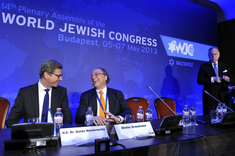 From left, German Foreign Minister Guido Westerwelle, President of the Central Council of Jews in Germany Dieter Graumann and President of the World Jewish Congress Ronald S. Lauder are seen in Budapest on Monday.