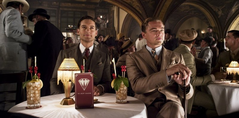 "Tobey Maguire as Nick Carraway and Leonardo DiCaprio as Jay Gatsby in Baz Luhrmann's ""The Great Gatsby."""
