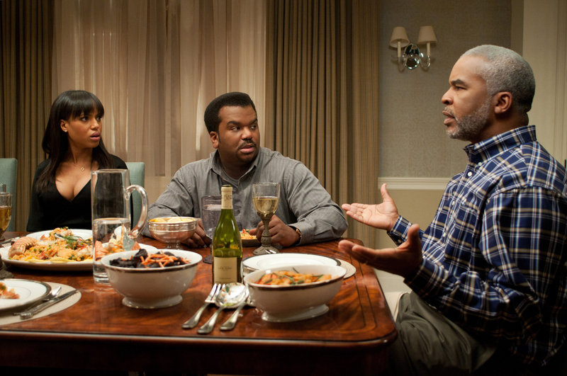 "Kerry Washington as Grace Peeples, Craig Robinson as Wade Walker and David Alan Grier as Virgil Peeples in a scene from ""Peeples,"" opening Friday."