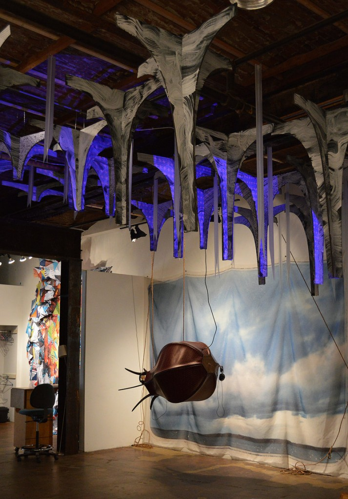 Brian Cronin and Eric Spalding's faux-leather dirigible and, hanging from the ceiling, work by Irina Skornyakova and Petra Simmons