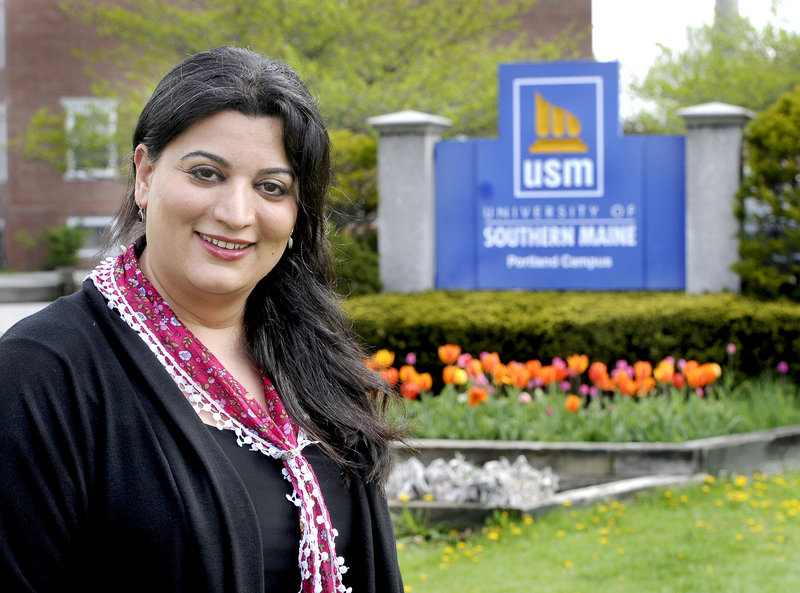 "Roya Hejabian, on the University of Southern Maine's Portland campus: ""I've always looked at education as a great tool to get to a destination."""