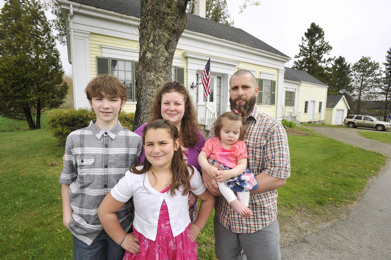 The Evans family, pictured at their home in Searsport, includes, from left, 12-year-old Donald III; 10-year-old Mckenzie; Rosemarie; 14-month-old Willow; and Donald.
