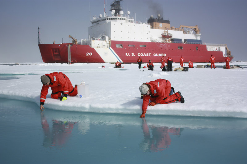 Scientists conduct research in the Chukchi Sea in the Arctic Ocean. President Obama has announced a new U.S. strategy for the Arctic, and the eight-nation Arctic Council meets next week in Kiruna, Sweden, where Secretary of State John Kerry will represent the U.S.
