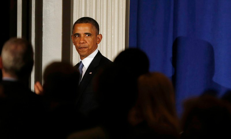 President Obama steps off stage after speaking at a Democratic Party fundraiser at the Waldorf Astoria hotel in New York on Monday. A series of missteps is threatening to derail Obama's agenda for his second term.