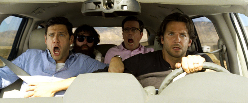 "From left, Justin Bartha as Doug, Zach Galifianakis as Alan, Ed Helms as Stu and Bradley Cooper as Phil in ""The Hangover Part III."""