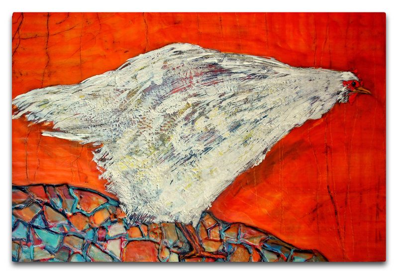 "Daniel Kany's juror's choice, the encaustic ""Sussex, White Pullet Chicken"" by Helene Farrar."