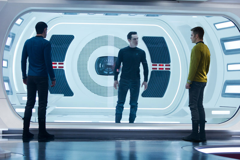 Zachary Quinto, left, as Spock, Benedict Cumberbatch as John Harrison and Chris Pine as Kirk