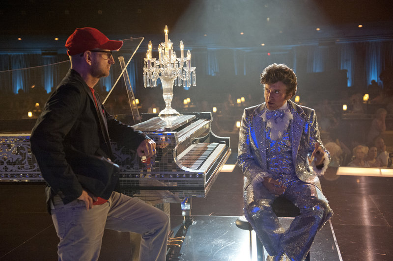 "Director Steven Soderbergh and Michael Douglas appear on the set of ""Behind the Candelabra,"" which debuts May 26 on HBO. The film was more than 13 years in the making."