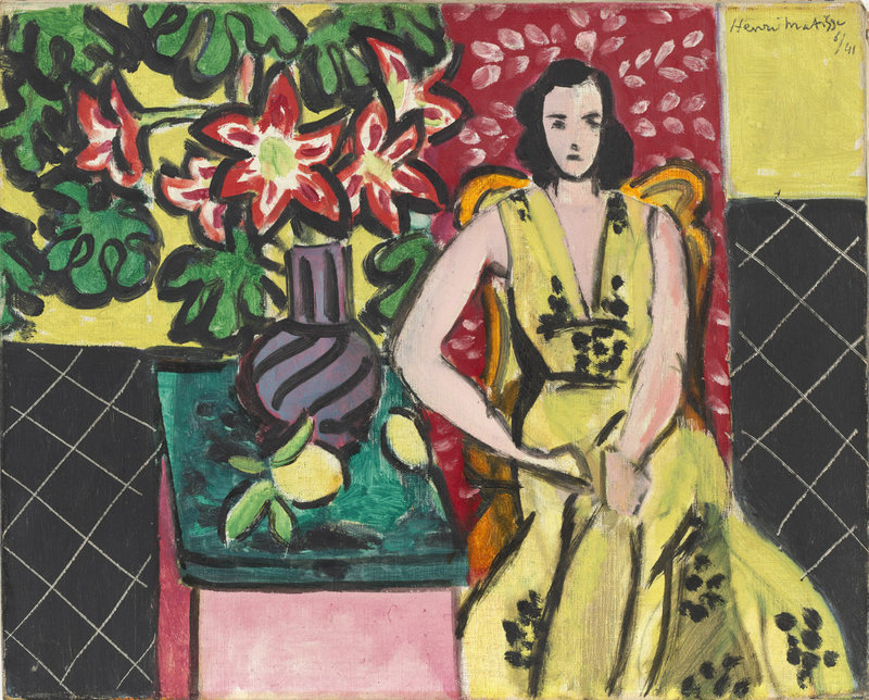 """Seated Woman with a Vase of Narcissus,"" 1941 oil on canvas by Henri Matisse, from the exhibition ""A Taste of Modernism – The William S. Paley Collection,"" continuing through Sept. 8 at the Portland Museum of Art."