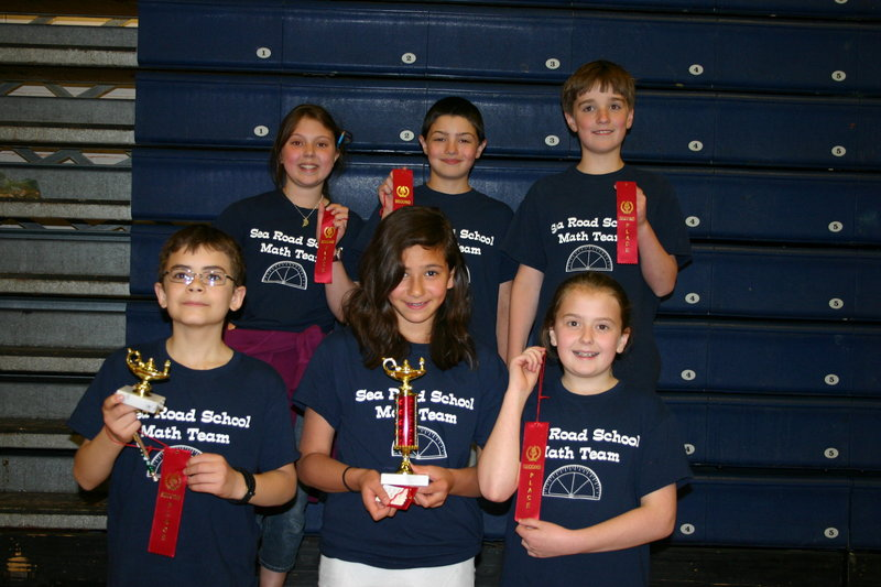 Members of the Sea Road School Math Team with their second-place ribbons, awarded at the Southern Maine Elementary Math League season finale. From left, front row, are Ethan Eickmann, Mia Banglmaier, Ellen Neale. Back row, from left, Julia Connolly, Ryan Connors and Benjamin Quist.